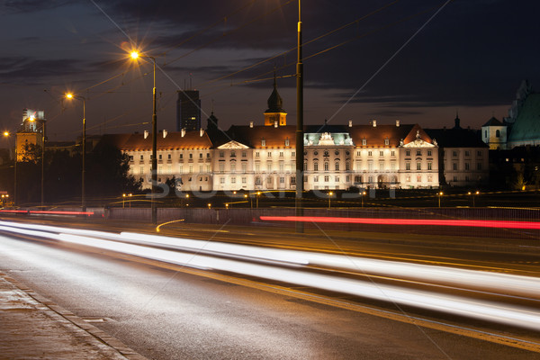 Street View of the Royal Castle at Night in Warsaw Stock photo © rognar