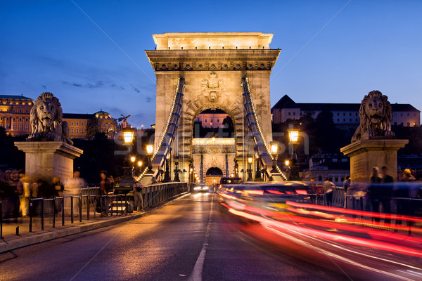 Szechenyi Chain Bridge in Budapest by Night Stock photo © rognar