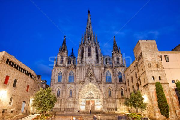 Barcelona katedrális éjszaka gótikus negyed város Stock fotó © rognar