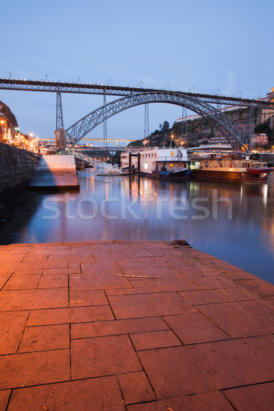 Dom Luis I Bridge in Porto at Dusk Stock photo © rognar