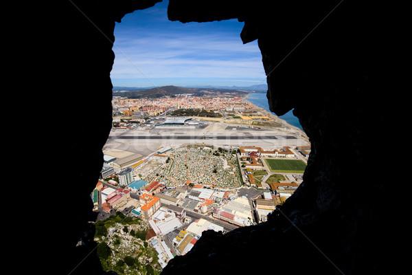 Widoku wewnątrz gibraltar rock otwór tunelu Zdjęcia stock © rognar