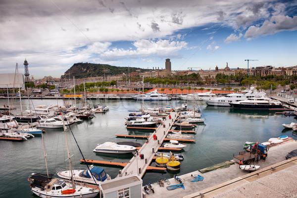 Kikötő marina Barcelona város víz tenger Stock fotó © rognar