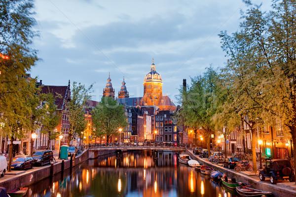 アムステルダム 赤信号 地区 夕暮れ オランダ ストックフォト © rognar