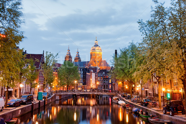 Amsterdam sinal vermelho distrito noite crepúsculo Holanda Foto stock © rognar