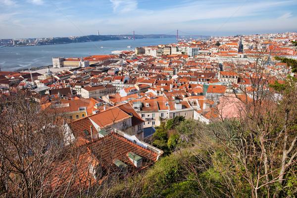 Stad Lissabon boven Portugal gebouw Stockfoto © rognar