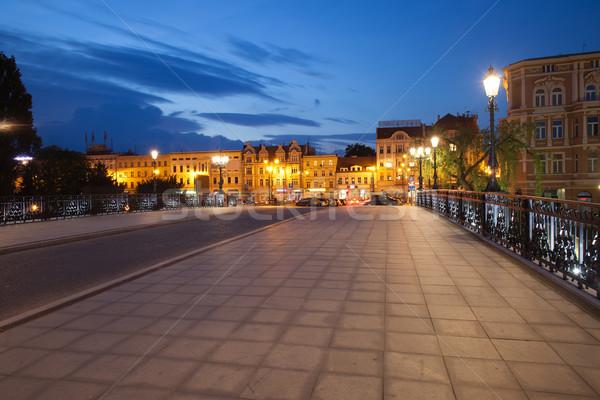 Bydgoszcz City Skyline by Night in Poland Stock photo © rognar