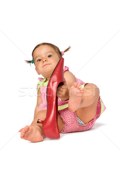 Baby Girl Try On Shoe Stock photo © rognar