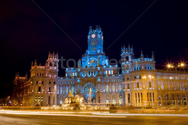 Plaza de Cibeles at Night in Madrid Stock photo © rognar