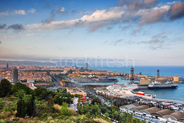 Cidade Barcelona acima pôr do sol ver colina Foto stock © rognar