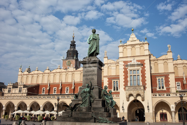Adam Mickiewicz Monument and Sukiennice in Krakow Stock photo © rognar
