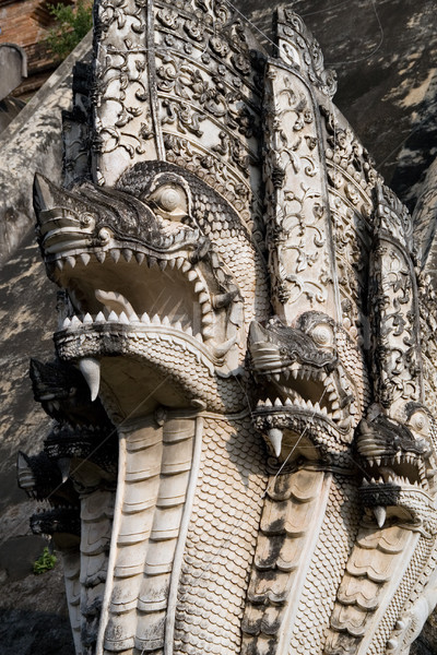 Stock photo: Ancient Naga Serpents in Chiang Mai