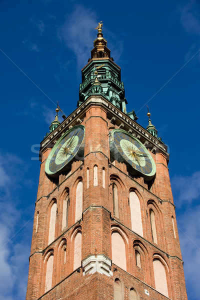 Clock Tower of Main Town Hall in Gdansk Stock photo © rognar