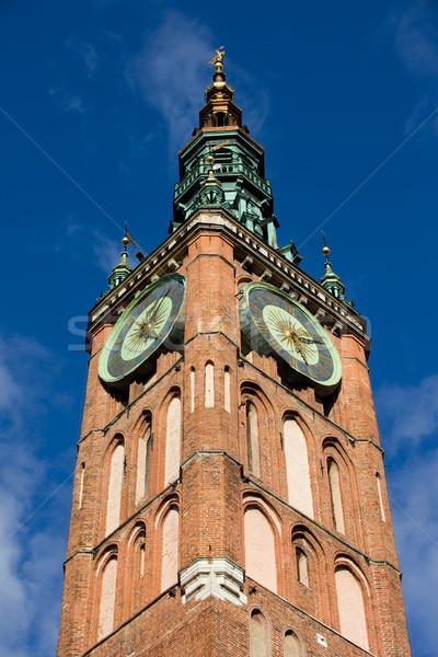 Relógio torre principal prefeitura gdansk cidade velha Foto stock © rognar
