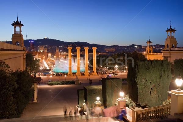 Барселона ночь Испания мнение магия фонтан Сток-фото © rognar
