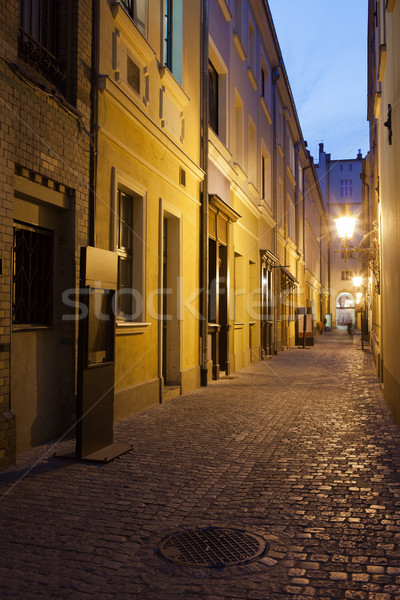 Narrow Street in Old Town of Wroclaw in Poland Stock photo © rognar
