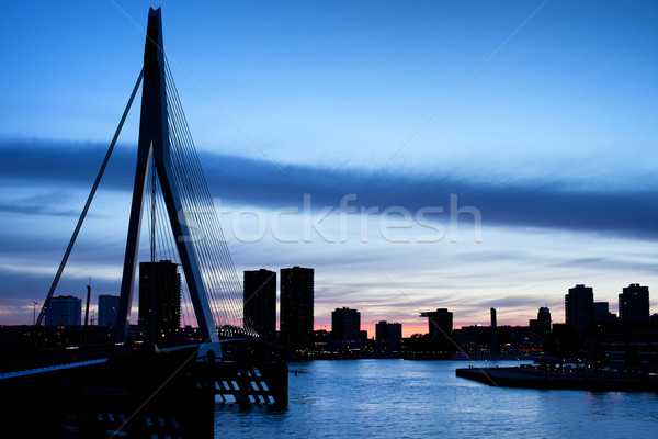 City of Rotterdam Skyline Silhouette Stock photo © rognar