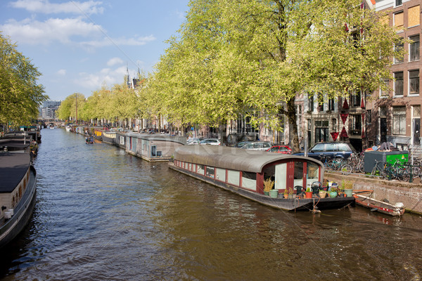 Houseboats on a Canal in Amsterdam Stock photo © rognar