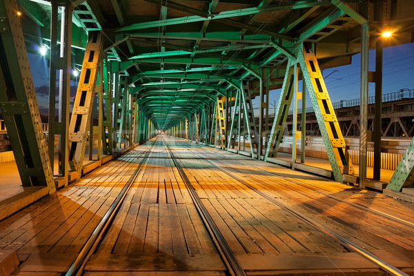 Stock photo: Steel Truss Bridge Tramway at Night