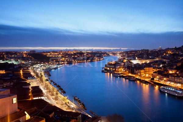 Stockfoto: Schemering · Portugal · rivier · steden · water · stad