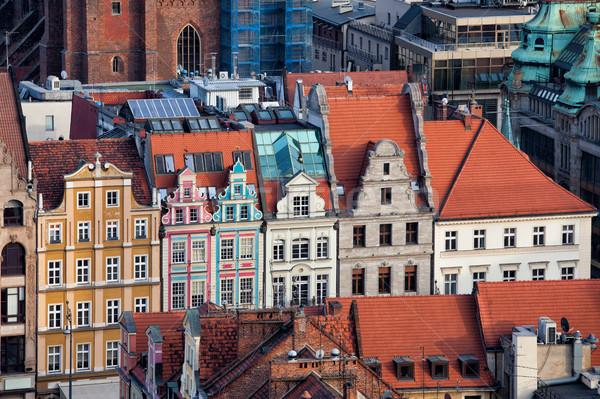 Cidade velha casas cidade Polônia histórico edifício Foto stock © rognar