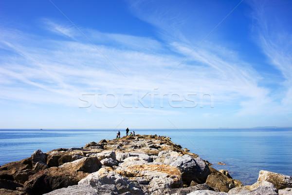 Sea, Sky and Pier in Marbella, Spain Stock photo © rognar