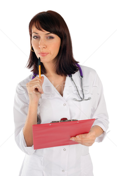 Female Doctor in Thoughtful Pose Stock photo © rognar