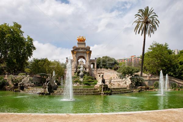 Park Barcelona waterval fontein la water Stockfoto © rognar