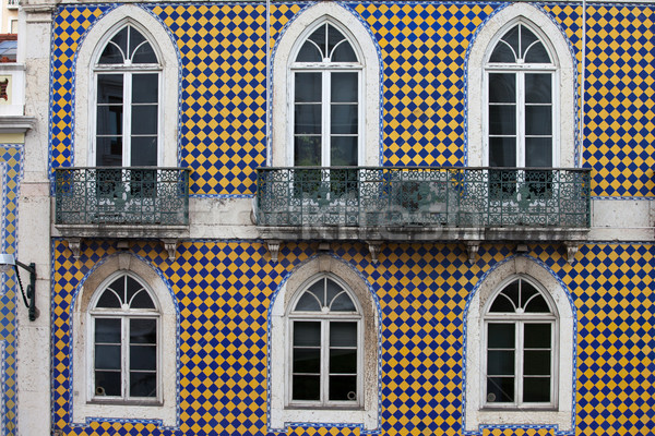 Checked Pattern Facade of a Traditional Building Stock photo © rognar