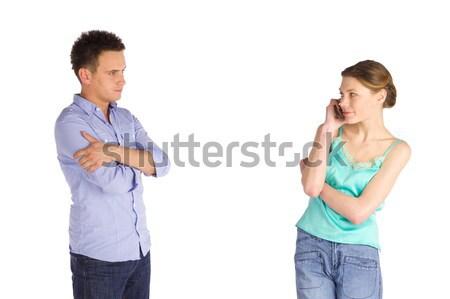 Ongeduldig man vrouw permanente Stockfoto © rognar
