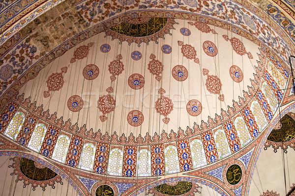 Niebieski meczet kopuła wnętrza turecki istanbul Zdjęcia stock © rognar