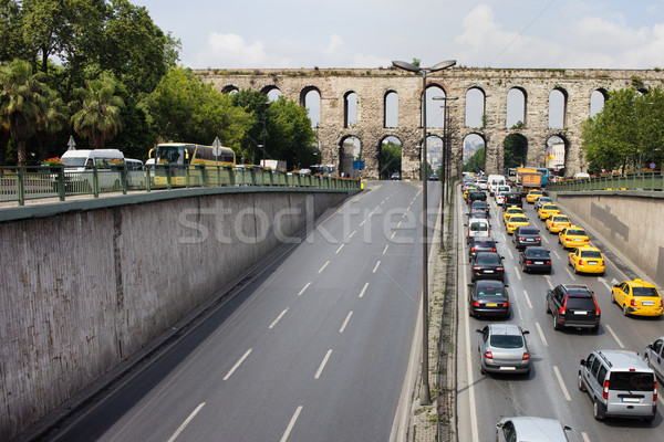 Ataturk Boulevard and Valens Aquedut in Istanbul Stock photo © rognar