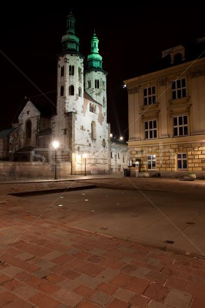 Cuadrados iglesia cracovia noche barrio antiguo Polonia Foto stock © rognar