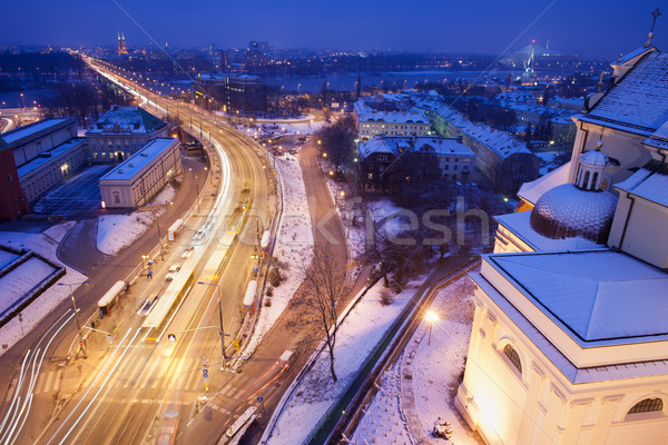 Solidarity Avenue in Warsaw by Night Stock photo © rognar