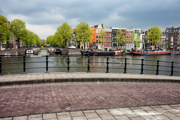 Dutch Houses by the Amstel River in Amsterdam Stock photo © rognar