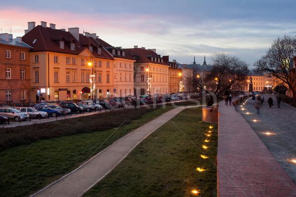 Appartement gebouwen straat Warschau historisch steegje Stockfoto © rognar