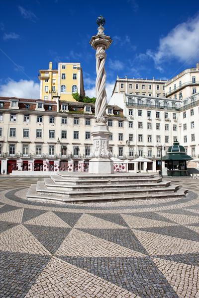 Helyhatósági tér Lisszabon 18-adik század oszlop Portugália Stock fotó © rognar