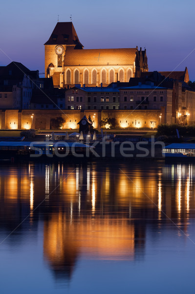 Stock photo: Torun Cathedral with Reflection on Vistula River