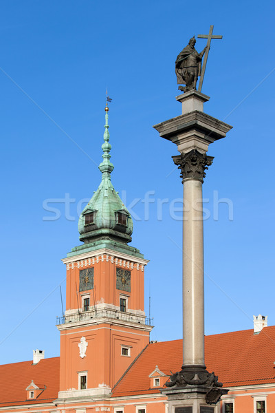 Sigismund Column and Royal Castle in Warsaw Stock photo © rognar