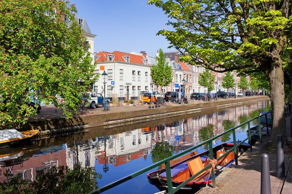 Hollandia festői csatorna város Hollandia épület Stock fotó © rognar