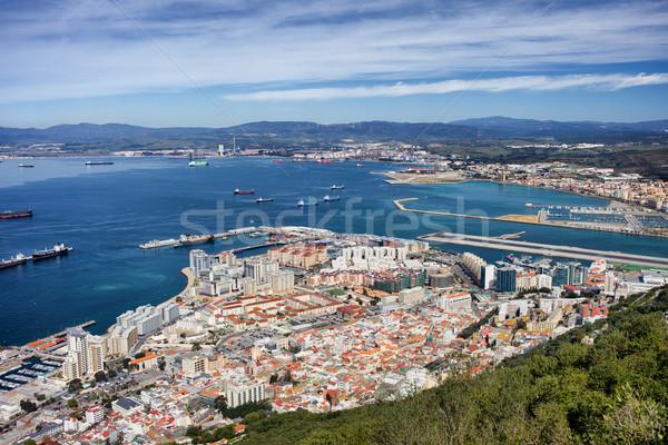 Gibraltar miasta widok z góry budynku morza architektury Zdjęcia stock © rognar