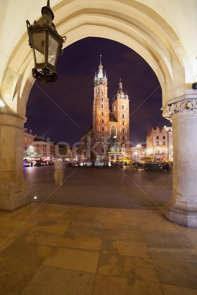 Város Krakkó Lengyelország éjszaka szent bazilika Stock fotó © rognar