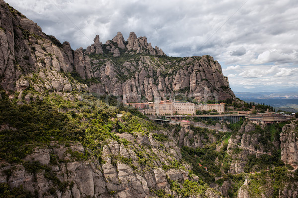 Montserrat Mountains and Monastery in Spain Stock photo © rognar