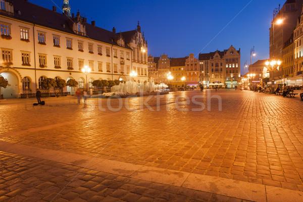 старый город рынке квадратный ночь город Польша Сток-фото © rognar