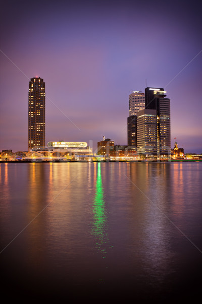 River View of Rotterdam City Centre at Night Stock photo © rognar