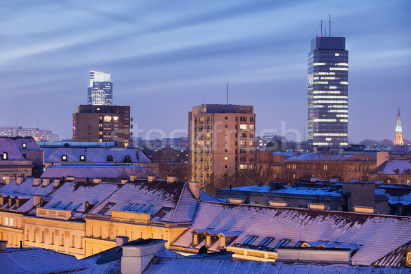 Ville Varsovie hiver nuit Skyline cityscape Photo stock © rognar