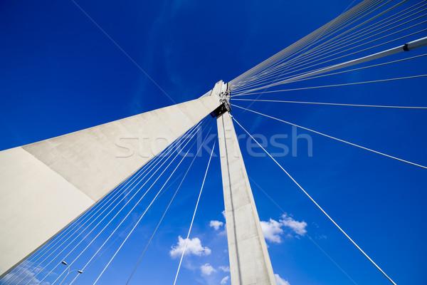 Puente colgante resumen arquitectura contemporáneo Varsovia Foto stock © rognar