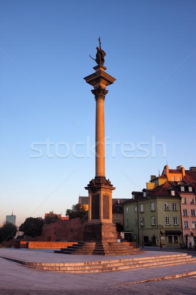 Koning kolom Warschau zonsopgang oude binnenstad Polen Stockfoto © rognar