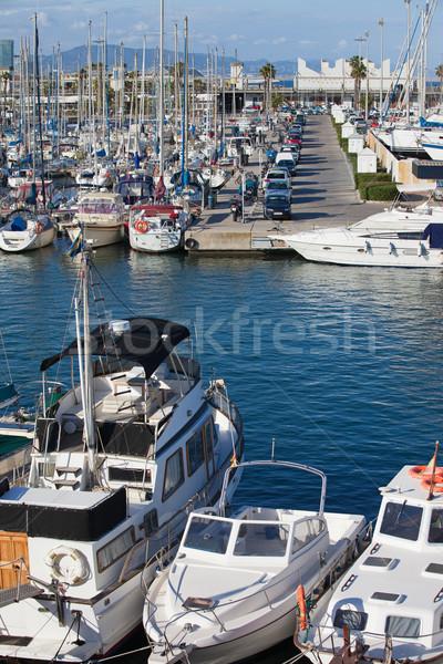 Porta marina Barcelona veleiros cidade oceano Foto stock © rognar
