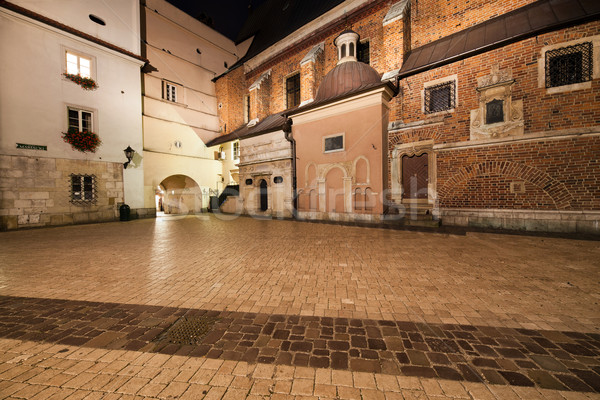 Cuadrados noche barrio antiguo cracovia Polonia edificios Foto stock © rognar