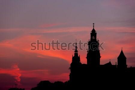 Kastély katedrális sziluett Krakkó Lengyelország királyi Stock fotó © rognar